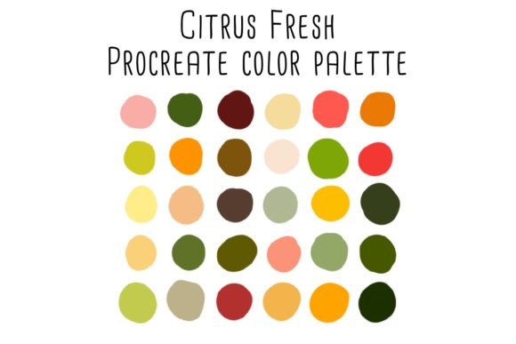 Print on Demand: Citrus Fresh Procreate Color Palette Graphic Add-ons By RoughDraftDesign