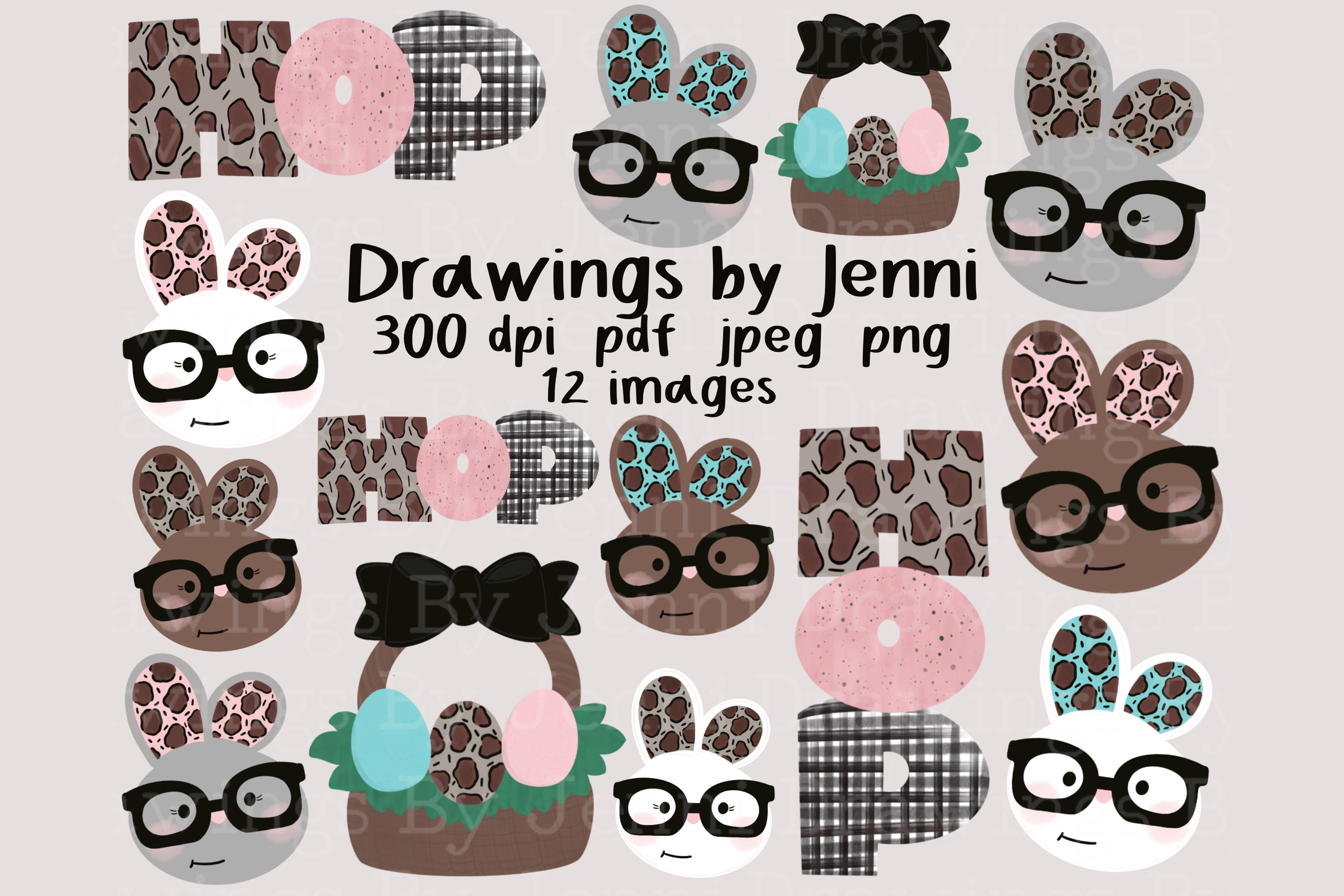 Download Free Easter Bunny With Glasses Clipart Set Graphic By Drawingsbyjenni for Cricut Explore, Silhouette and other cutting machines.