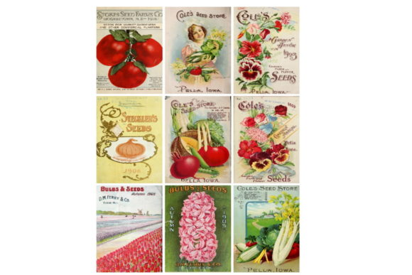 Download Free Ephemera Seed Packs Collage Sheet Grafico Por Scrapbook Attic for Cricut Explore, Silhouette and other cutting machines.
