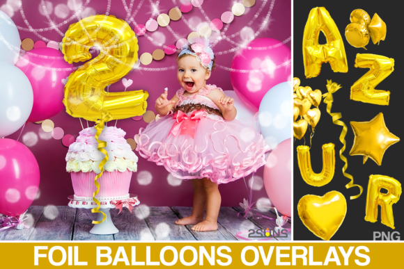 Foil Number Balloons Alphabet Photoshop Graphic Layer Styles By 2SUNS