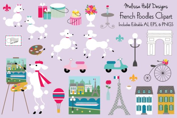 Download Free French Poodle Vector Clipart Graphic By Melissa Held Designs for Cricut Explore, Silhouette and other cutting machines.