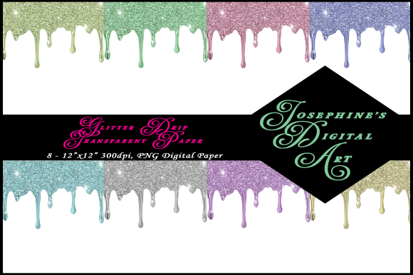 Print on Demand: Glitter Drip Transparent Background Graphic Backgrounds By Josephine's Digital Art