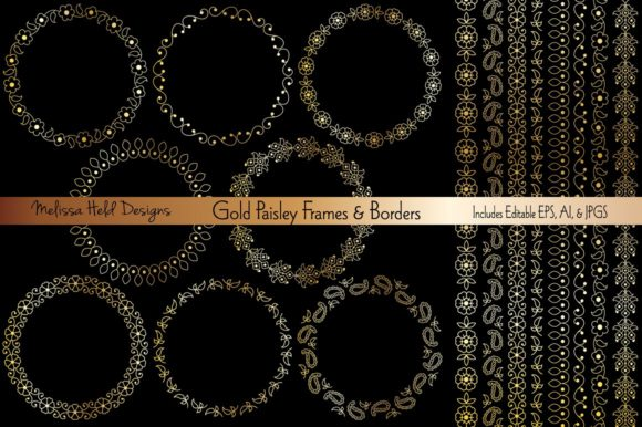 Gold Paisley Frames & Border Patterns Graphic Patterns By Melissa Held Designs