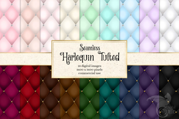 Print on Demand: Harlequin Tufted Digital Paper Graphic Patterns By Digital Curio