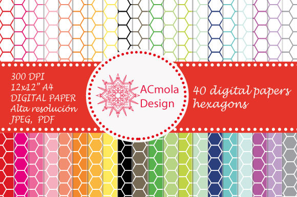 Print on Demand: Hexagons Set 40 Styles Digital Paper Graphic Patterns By Ana Carmen Modrego Lacal