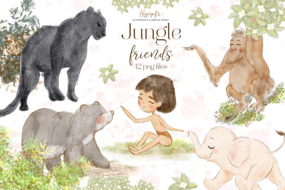 Jungle Animals Woodland Clip Arts Gráfico Ilustraciones Por Hippogifts
