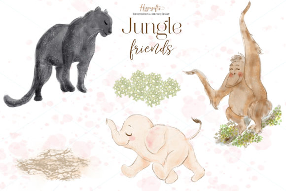 Download Free Jungle Animals Woodland Clip Arts Graphic By Hippogifts for Cricut Explore, Silhouette and other cutting machines.