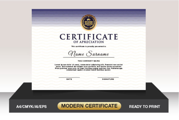 Luxury Design Certificate Template Graphic Print Templates By WeemStock