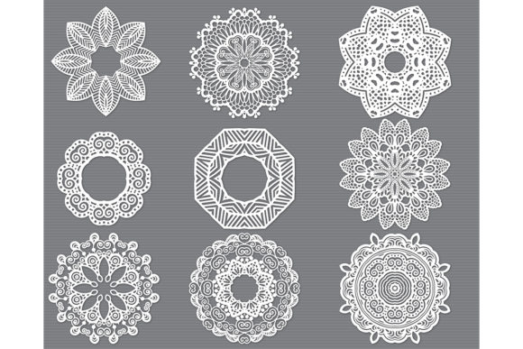 Print on Demand: Mandala Flower Cut File Bundle Graphic Crafts By MeshaArts
