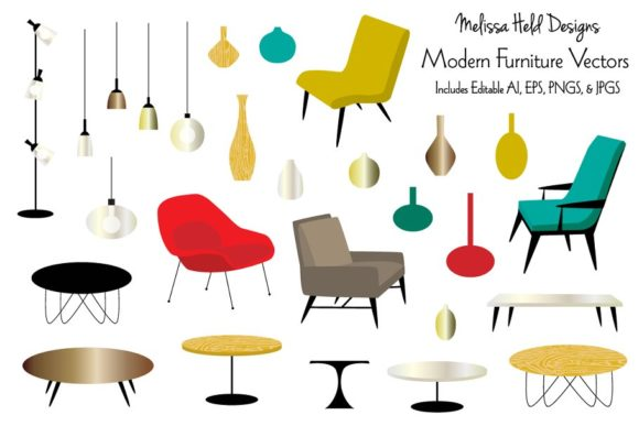 Modern Furniture Vector Illustrations Graphic Illustrations By Melissa Held Designs