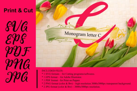 Print on Demand: Monogram Leter C Graphic Crafts By Rusd studio