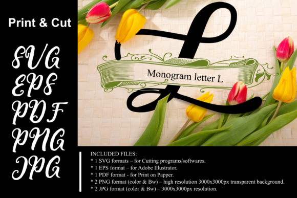 Download Free Monogram Leter L Graphic By Rusd Studio Creative Fabrica for Cricut Explore, Silhouette and other cutting machines.