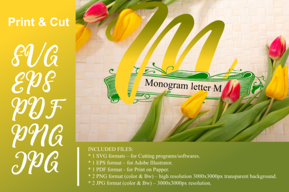 Download Free Monogram Leter M Graphic By Rusd Studio Creative Fabrica for Cricut Explore, Silhouette and other cutting machines.