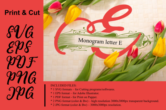 Print on Demand: Monogram Letter E Graphic Crafts By Rusd studio