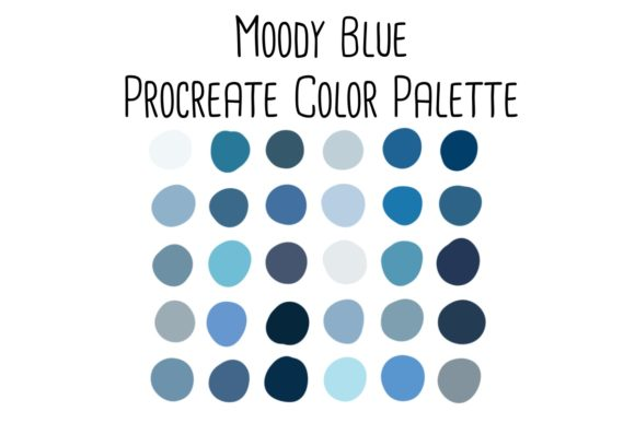 Print on Demand: Moody Blue Procreate Color Palette Graphic Add-ons By RoughDraftDesign