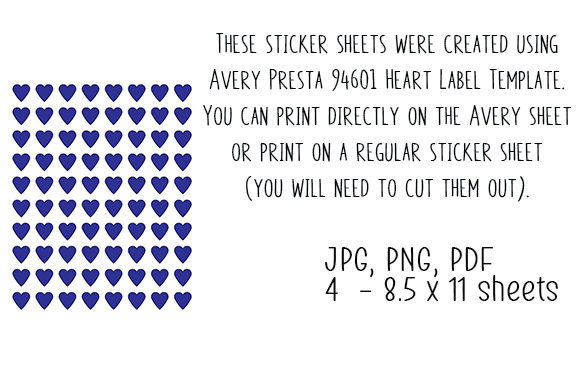 Download Free Printable Sticker Sheets Hearts 006 Graphic By Kathryn for Cricut Explore, Silhouette and other cutting machines.