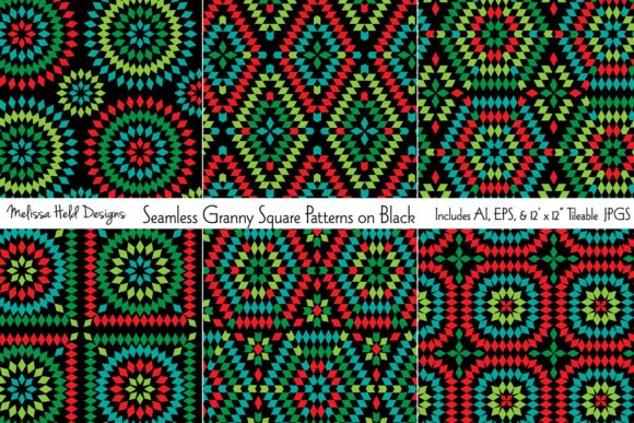 Seamless Granny Squares on Black Graphic Patterns By Melissa Held Designs