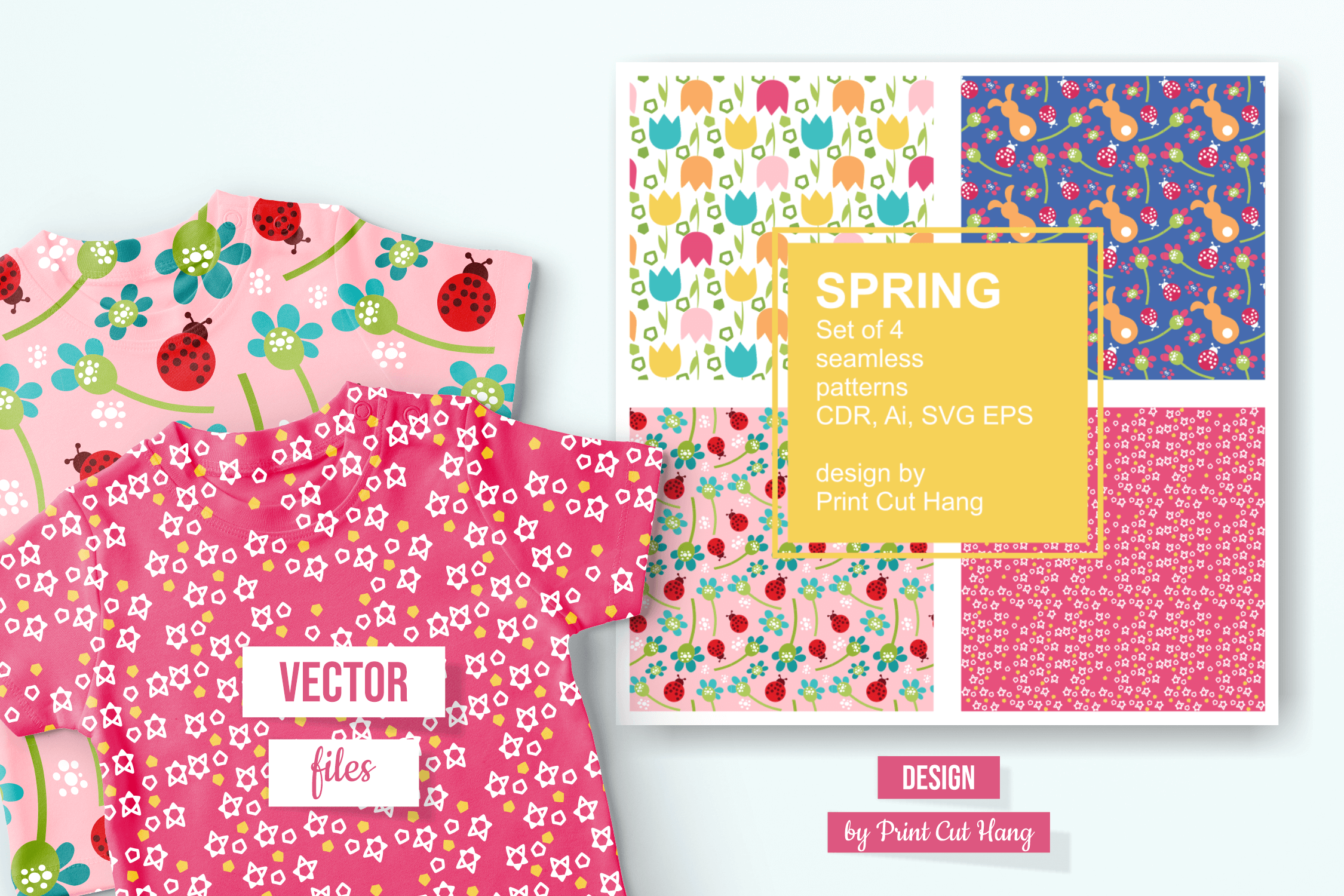 Download Free Spring Patterned Papers Graphic By Print Cut Hang Creative Fabrica for Cricut Explore, Silhouette and other cutting machines.
