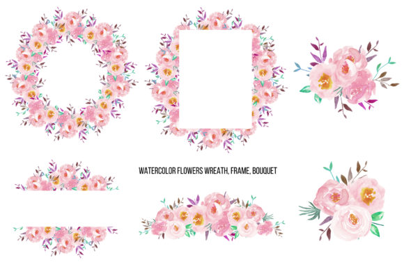 Watercolor Flower Peonies Clipart Graphic Illustrations By BonaDesigns - Image 3
