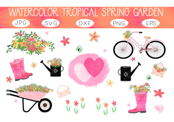 Print on Demand: Watercolor Tropical Spring Garden Set Graphic Illustrations By capeairforce