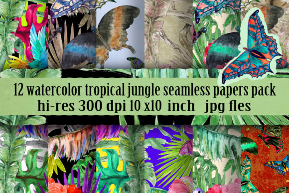 Watercolor Tropical Patterns Set Graphic Patterns By arevkasunshine