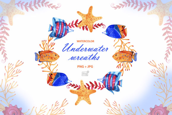 Watercolor Underwater Cliparts Graphic Illustrations By NataliMyaStore
