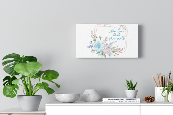 Print on Demand: You Can and You Will Floral Quote Graphic Graphic Templates By Josephine's Digital Art - Image 2