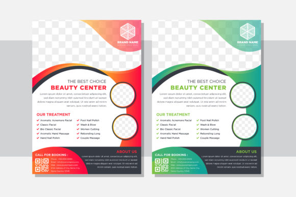 Print on Demand: Beauty Center Gradient Green Orange Graphic Graphic Templates By noory.shopper