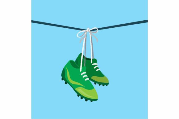 Download Free Hanging Football Shoes On Wire Shoefiti Graphic By Aryo Hadi for Cricut Explore, Silhouette and other cutting machines.