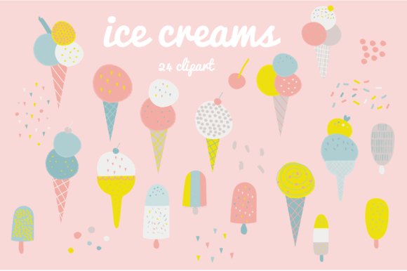 Print on Demand: Ice Creams Graphic Illustrations By poppymoondesign