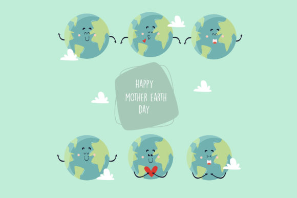 Download Free Mother Earth Day Cute Characters Set Graphic By Aprlmp276 for Cricut Explore, Silhouette and other cutting machines.