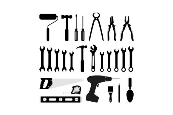 Print on Demand: Silhouette Carpentry Tool Icon Graphic Icons By sabavector