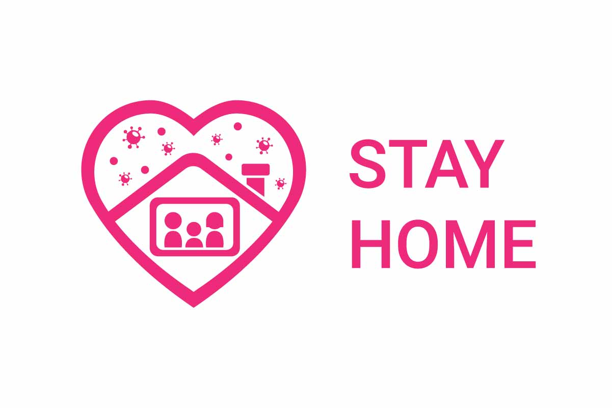 Download Free Stay Home Logo With Heart Shape Logo Graphic By Aryo Hadi for Cricut Explore, Silhouette and other cutting machines.