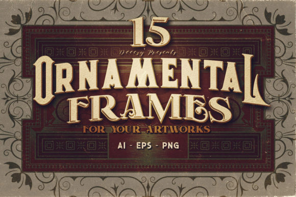 Print on Demand: 15 Ornamental Frames Graphic Logos By JumboDesign