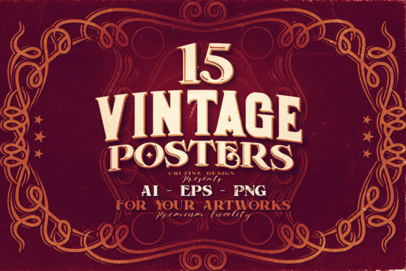 Print on Demand: 15 Vintage Posters Graphic Print Templates By JumboDesign