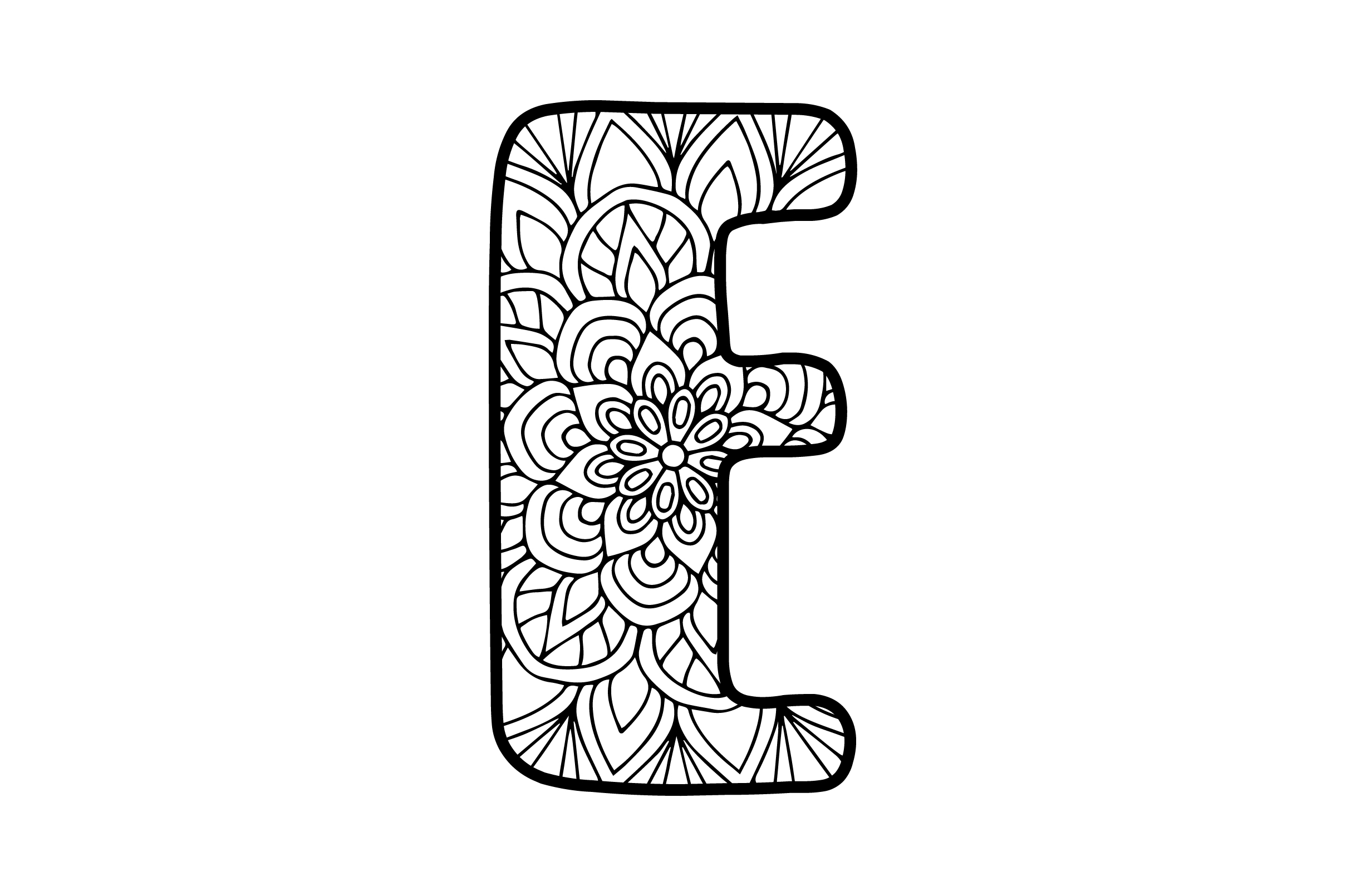 Download Free Mandala Alphabet E Svg Cut File By Creative Fabrica Crafts for Cricut Explore, Silhouette and other cutting machines.