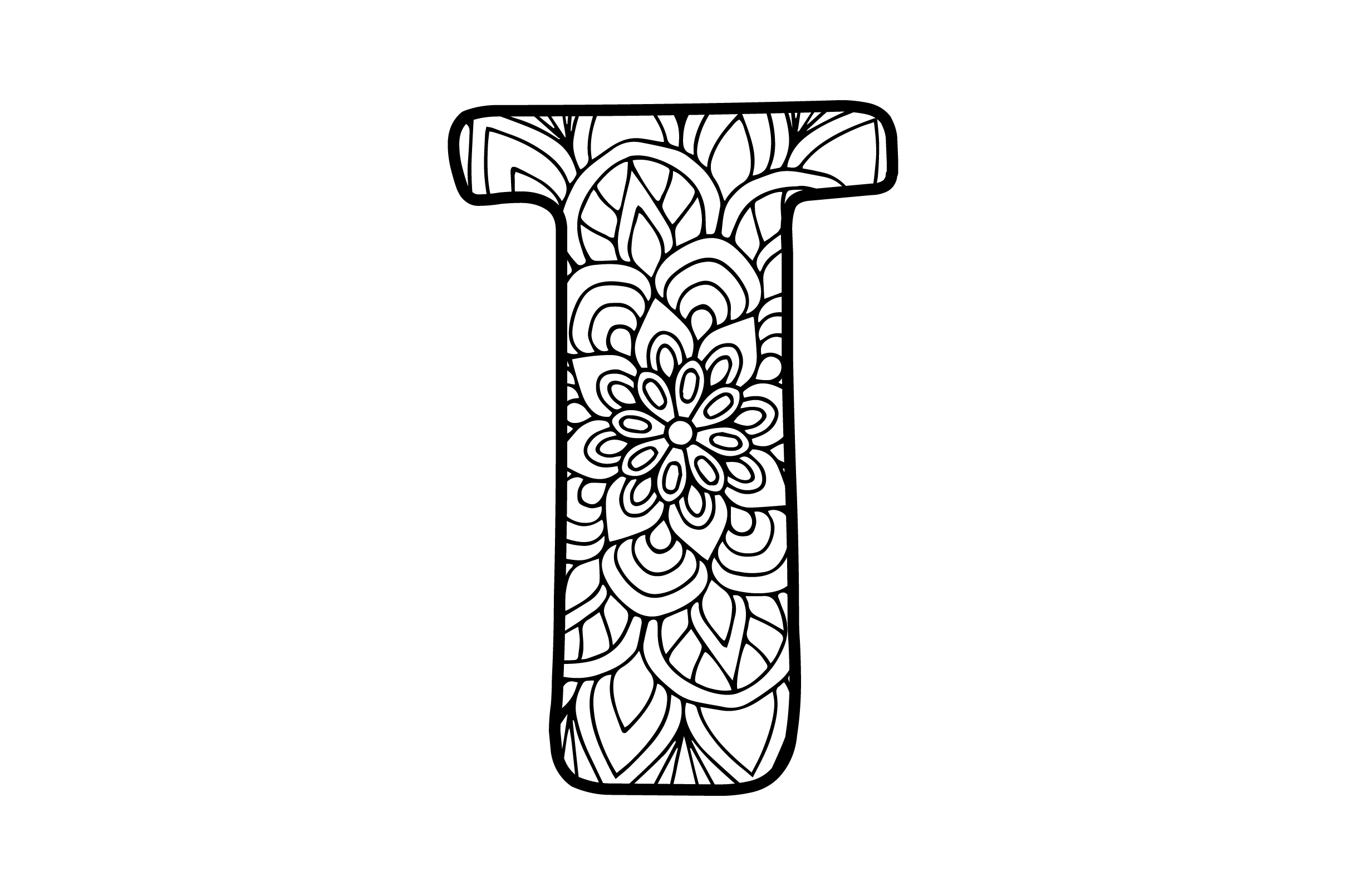 Download Free Mandala Alphabet T Svg Cut File By Creative Fabrica Crafts for Cricut Explore, Silhouette and other cutting machines.