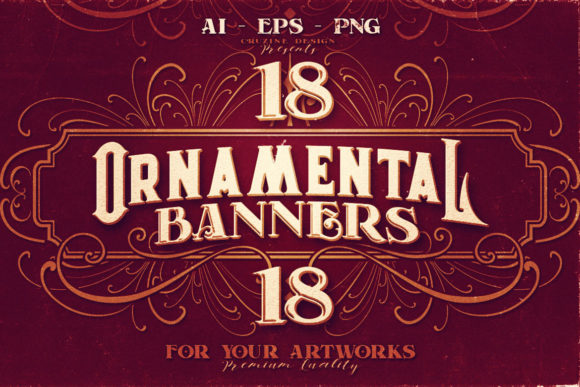 Print on Demand: 18 Ornamental Banners Graphic Logos By JumboDesign