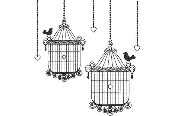 2 Cages Birds Embroidery Design By kreationsbykara