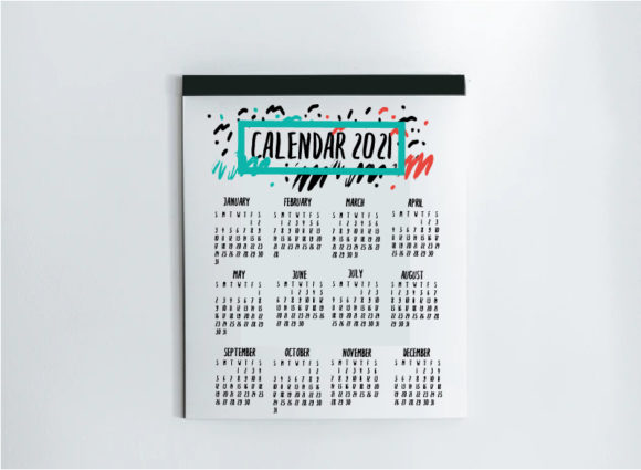 Print on Demand: 2021 Calendar Template Graphic Print Templates By cyrilliclettering