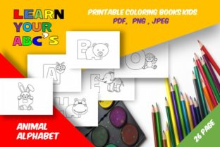 Print on Demand: 26 Cute Animals Alphabet Coloring Book Graphic Coloring Pages & Books Kids By icutletterstudio