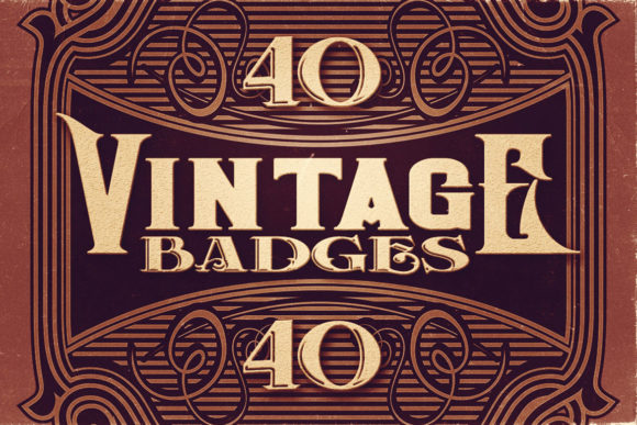 Print on Demand: 40 Vintage Badges Graphic Logos By JumboDesign