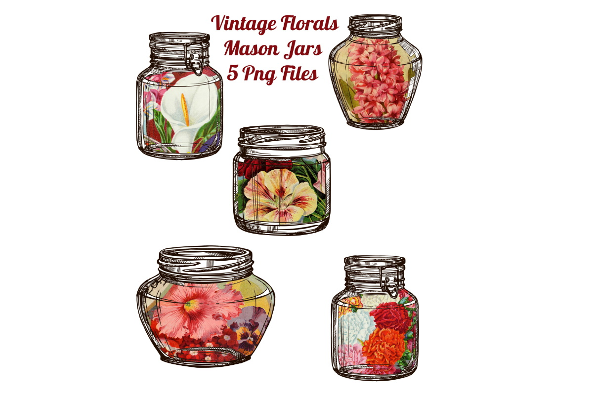 Download Free 5 Floral Ephemera Mason Jars Scrapbook Graphic By Scrapbook for Cricut Explore, Silhouette and other cutting machines.