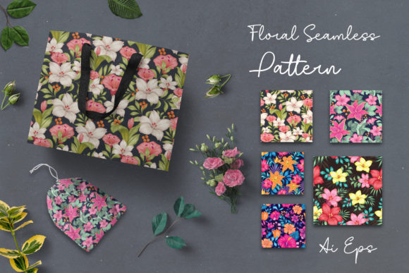 5 Set Floral Seamless Graphic Crafts By AllmoStudio