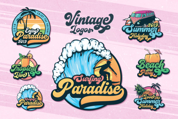 6 Set of Summer Badges and Logo Graphic Logos By AllmoStudio