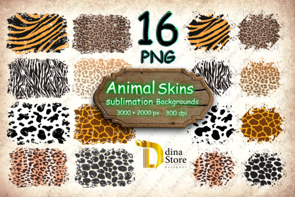 Print on Demand: Animal Skins Sublimation Backgrounds Gráfico Fondos Por dina.store4art
