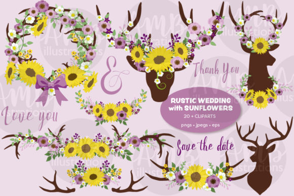 Download Free Antler Sunflower Clipart Graphic By Ambillustrations Creative for Cricut Explore, Silhouette and other cutting machines.