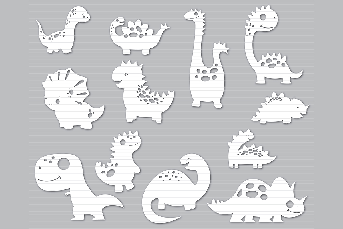 Download Free Baby Dinosaur Bundle Graphic By Meshaarts Creative Fabrica for Cricut Explore, Silhouette and other cutting machines.