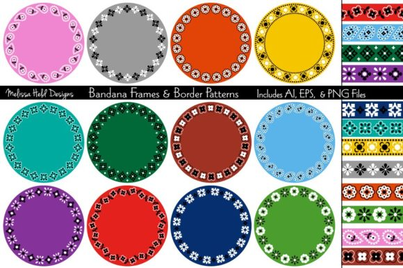 Download Free Bandana Border Patterns Frames Graphic By Melissa Held Designs for Cricut Explore, Silhouette and other cutting machines.
