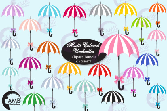 Beach White and Colored Umbrellas Graphic Illustrations By AMBillustrations